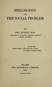 Cover of: Philosophy and the social problem