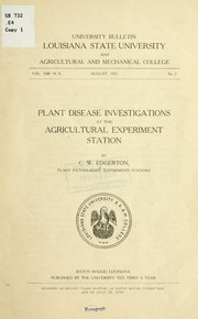 Cover of: Plant disease investigation at the Agricultural Experiment Station