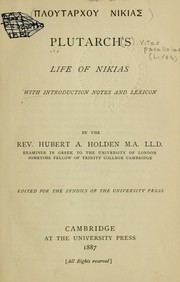 Cover of: Ploutarchou Nikias: Life of Nicias; with introd., notes and lexicon by Hubert A. Holden.