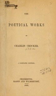 Cover of: Poetical works | Charles Crocker
