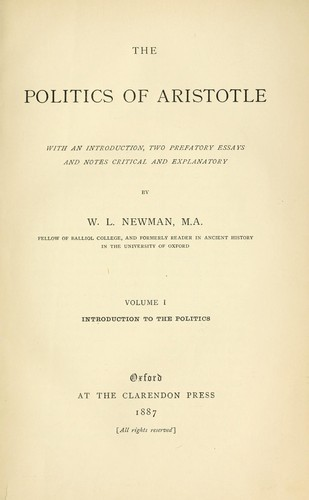 The Politics of Aristotle by