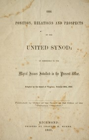 Cover of: The position, relations and prospects of the United Synod