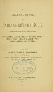 Cover of: A practical manual of parliamentary rules