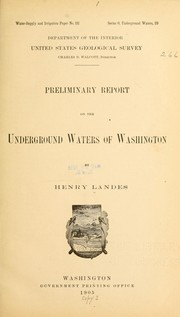 Cover of: Preliminary report on the underground waters of Washington