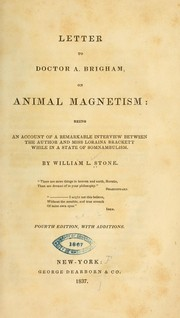Cover of: Letter to Doctor A. Brigham on animal magnetism | William L. Stone