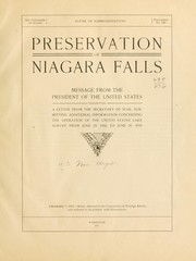 Cover of: Preservation of Niagara Falls. | United States. War Dept.