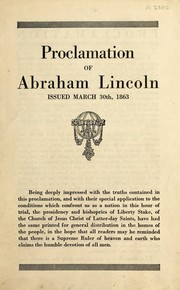 Cover of: Proclamation of Abraham Lincoln
