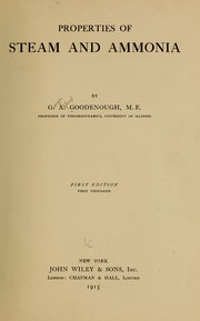 Cover of: Properties of steam and ammonia | Goodenough, G. A.