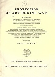 Cover of: Protection of art during war | Paul Clemen