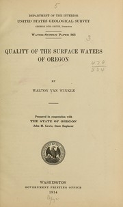 Cover of: Quality of the surface waters of Oregon