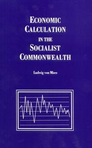 Cover of: Economic calculation in the socialist commonwealth