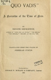 "Cover of: ""Quo Vadis"" narrative of the time of Nero"