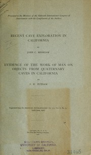 Cover of: Recent cave exploration in California