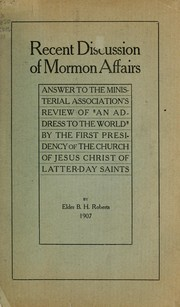 Cover of: Recent discussion of Mormon affairs