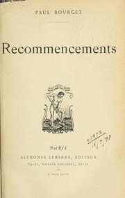 Cover of: Recommencements