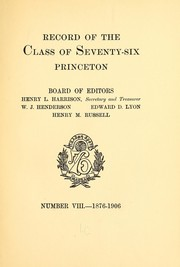 Cover of: Record of the class of seventy-six, Princeton | Princeton university. Class of 1876