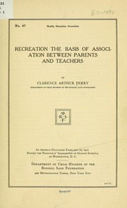 Cover of: Recreation the basis of association between parents and teachers