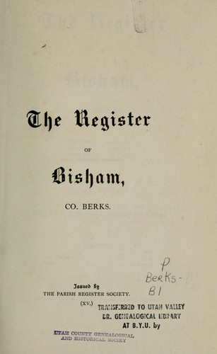The register of Bisham, co. Berks, 1560-1812 by Bisham, England