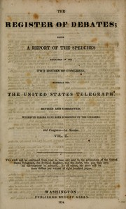 Cover of: Register of debates | U. S. Congress