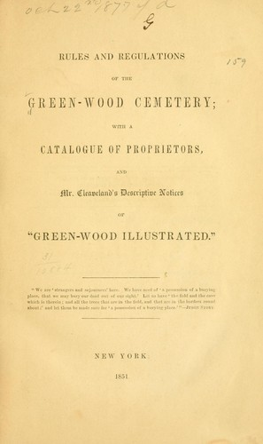 Rules and regulations of the Green-wood cemetery