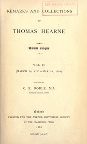 Cover of: Remarks and collections | Thomas Hearne