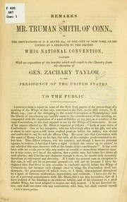 Cover of: Remarks of Mr Tryman Smith, of Conn., on the imputations of N. B. Blunt, esq., of the city of New York