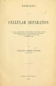 Cover of: Remarks on cellular separation