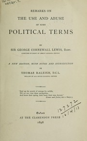 Cover of: Remarks on the use and abuse of some political terms