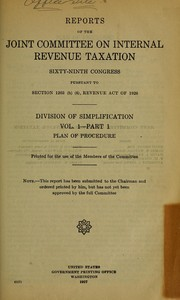 Cover of: Reports of the Joint Committee on Internal Revenue Taxation, Sixty-ninth Congress | United States. Congress. Joint Committee on Internal Revenue Taxation. Division of Investigation