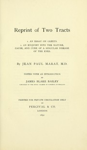 Cover of: Reprint of two tracts
