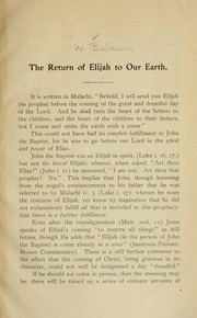 Cover of: The return of Elijah to our earth | William Baldwin