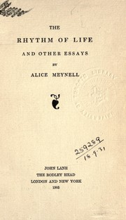 Cover of: The rhythm of life, and other essays