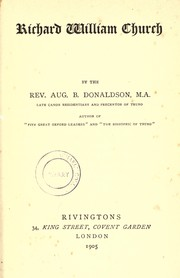 Cover of: Richard William Church | Augustus Blair Donaldson