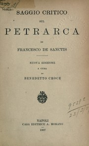 Cover of: Saggio critico sul Petrarca
