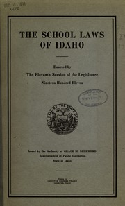Cover of: The school laws of Idaho | Idaho
