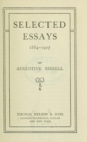 Cover of: Selected essays, 1884-1907