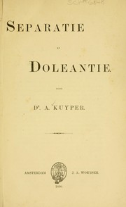 Cover of: Separatie en Doleantie