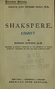 Cover of: Shakspere
