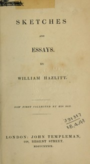 Cover of: Sketches and essays, now first collected by his son