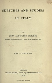Cover of: Sketches and studies in Italy
