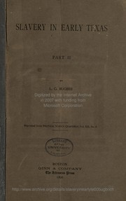 Cover of: Slavery in early Texas | Lester G. Bugbee
