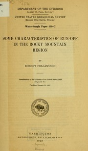 Cover of: Some characteristics of run-off in the Rocky Mountain region