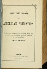 Cover of: Some impressions of American education