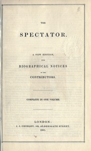 Cover of: The Spectator [by Addison and others]