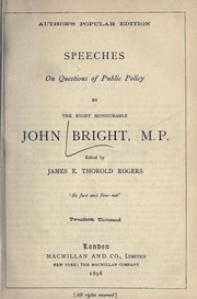 Cover of: Speeches on questions of public policy