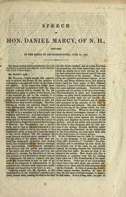 Cover of: Speech of Hon. Daniel Marcy, of N.H. | Daniel Marcy