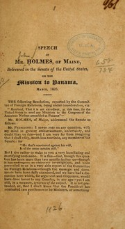 Cover of: Speech of Mr. Holmes, of Maine