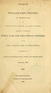 Cover of: Speech of William Cost Johnson ..