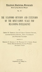 Cover of: The Stanford revision and extension of the Binet-Simon scale for measuring intelligence