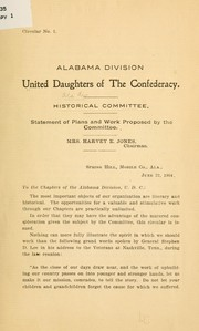 Cover of: Statement of plans and work proposed by the committee
